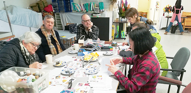 Seniors celebrate Donna's birthday with arts and crafts